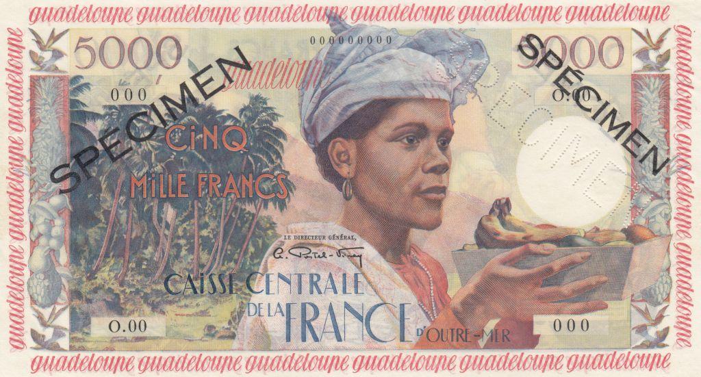 Guadeloupe 5000 Francs Femme, Antillaise - 1960 Spécimen O.000 - P.neuf