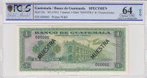Guatemala 1 Quetzal 1955 - Palace - Atitlan Lake - Specimen - PCGS 64OPQ