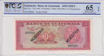 Guatemala 10 Quetzales 1955 - Ara de T - Guatemala fondation  - Specimen - PCGS 65OPQ