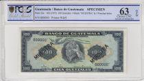 Guatemala 100 Quetzales, Indien Nahuala - Antigua guatemala  - 1955 - Spécimen - PCGS 63OPQ