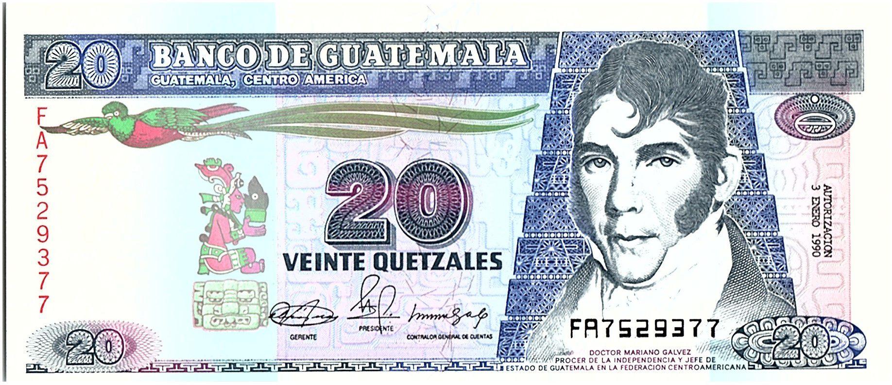 Guatemala 20 Quetzales, Mariano Galvez - Déclaration d\' Indépendance - 1990