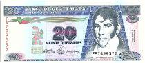 Guatemala 20 Quetzales, Mariano Galvez - Independence act  - 1990