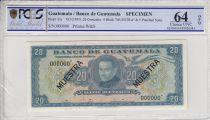 Guatemala 20 Quetzales, Rafael Landivar - Indépendance  - 1955 - Spécimen - PCGS 64OPQ