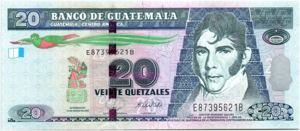 Guatemala 20 Quetzales M. Galvez - Independence act 2008