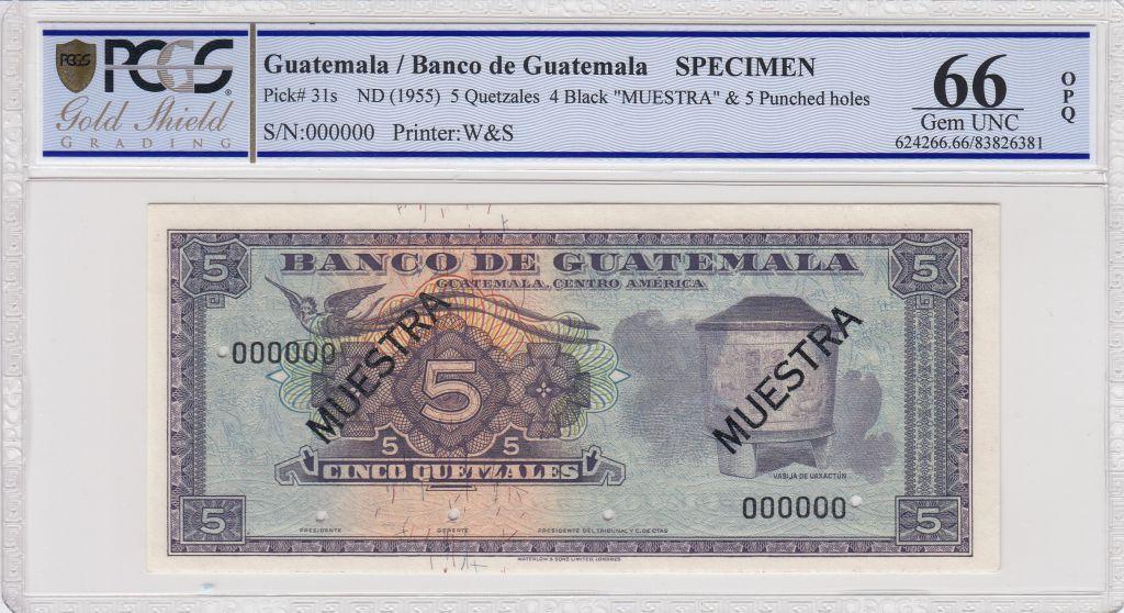 Guatemala 5 Quetzales 1955 - Vase - Choc des cultures  - Spécimen - PCGS 66OPQ