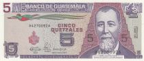 Guatemala 5 Quetzales 1990 Série D