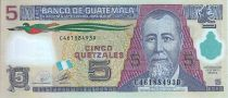 Guatemala 5 Quetzales Général J. Rufino Barrios - Ecole (Canadian Bank Note) - 2010 Polymer