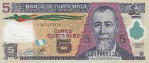 Guatemala 5 Quetzales Général J. Rufino Barrios - Ecole (Canadian Bank Note) - Polymer - Neuf - P.122b