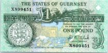 Guernesey 1 Pound  - Daniel de Lisle Brock - Market square scene of 1822