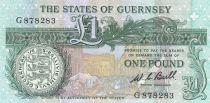 Guernesey 1 Pound ND1980 - Daniel de Lisle Brock - Place du marché en 1882 2ème ex