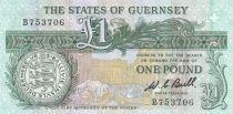 Guernesey 1 Pound ND1980 - Daniel de Lisle Brock - Place du marché en 1882 3ème ex