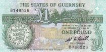 Guernesey 1 Pound ND1980 - Daniel de Lisle Brock - Place du marché en 1882
