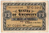 Guernesey 1 Shilling 3 Pence 3 Pence, Noir et jaune - 1941
