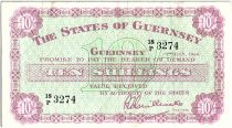 Guernesey 10 Shillings lilas sur vert clair - 1966