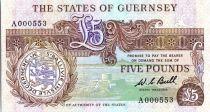 Guernesey 5 Pounds  1980 - Thomas de la Rue