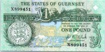Guernsey 1 Pound  - Daniel de Lisle Brock - Market square scene of 1822