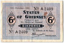 Guernsey 6 Pence Black and Blue - 1941