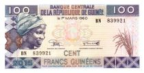 Guinea 100 Francs Young woman - Banana harvesting 2015