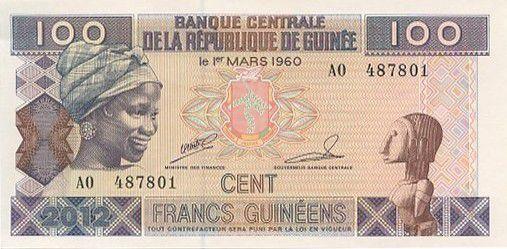 GUINEA 100 FRANCS 1960 UNC BANKNOTE WORLD PAPER MONEY P-35