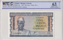 Guinea 500 Francs 1960 - Sekou Touré - Canoes - PCGS 63