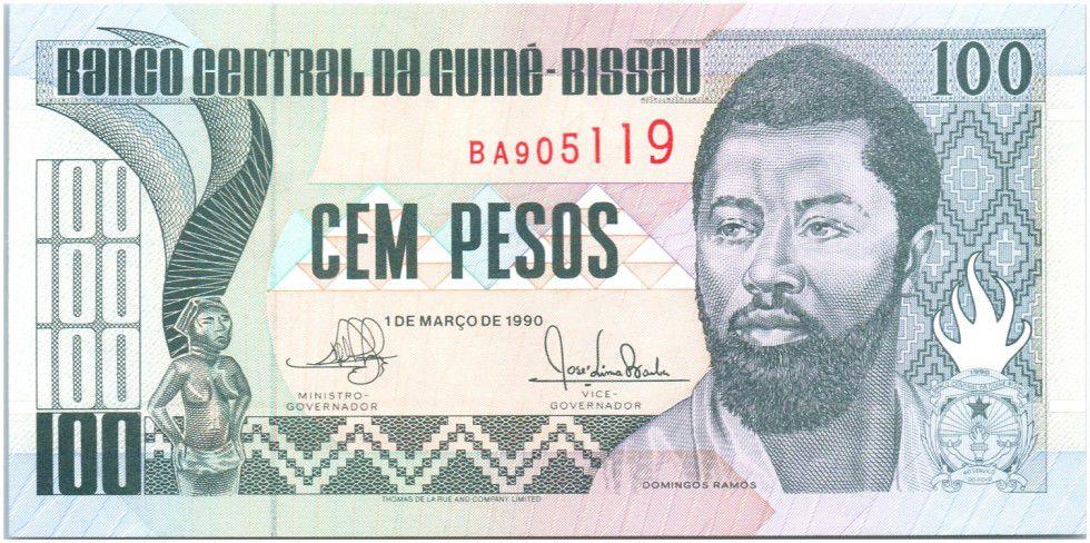 Guinea-Bissau 100 Pesos Domingo Ramos, building - 1990