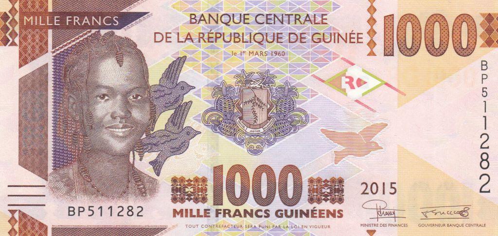 Guinée 1000 Francs, Jeune Femme - Mine de Bauxite - 2015 - Neuf