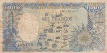 Guinée Equatoriale 1000 Francs 1985 - Carte de l\' Afrique, Eléphant - Série F.01