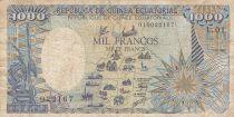 Guinée Equatoriale 1000 Francs 1985 - Carte de l\' Afrique, Eléphant - Série L.01