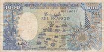 Guinée Equatoriale 1000 Francs 1985 - Carte de l\' Afrique, Eléphant - Série O.01