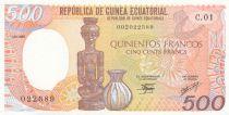 Guinée Equatoriale 500 Francs 1985 - Statue, Poterie
