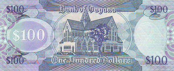 Guyana 100 Dollars Carte du Guyana - Eglise - 2008