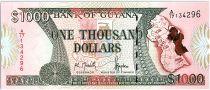 Guyana 1000 Dollars  Carte de l\'île - Banque de Guyana - 1996