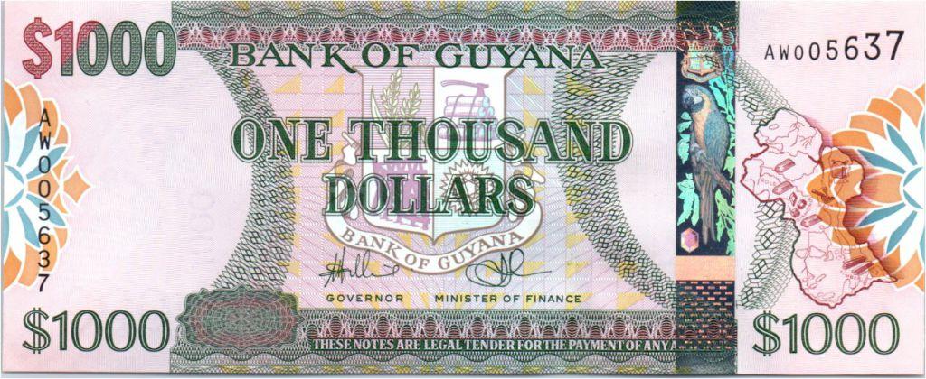 Guyana 1000 Dollars Armoires - Carte de l\'île - Banque de Guyana - 2006