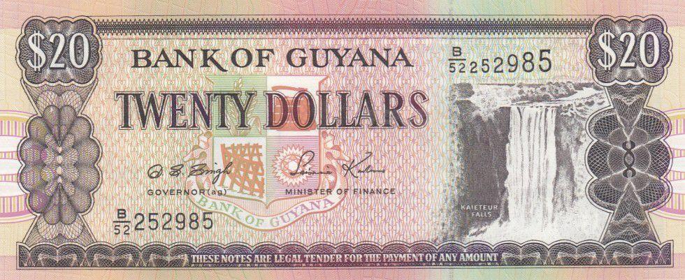 Guyana 20 Dollars Cascade Kaieteur - Chantier naval - Série B.52 - 1996