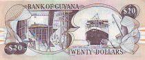 Guyana 20 Dollars Cascade Kaieteur - Chantier naval