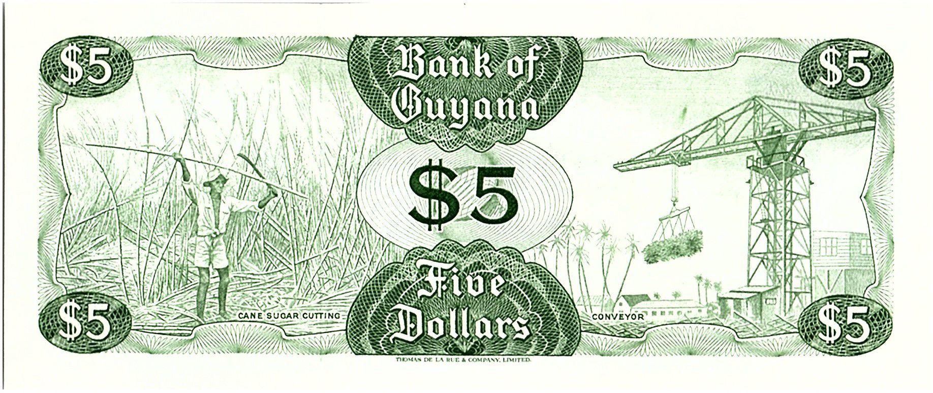 Guyana 5 Dollars, Cascade Kaieteur, Coupe de Canne à sucre - 1983