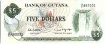Guyana 5 Dollars, Cascade Kaieteur, Coupe de Canne à sucre - 1989