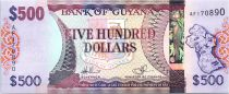 Guyana 500 Dollars Carte de Guyane - Batiments de Georgetown - 2011
