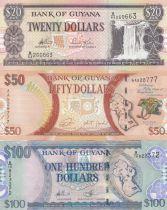 Guyana Série 3 billets 20, 50 et 100 dollars - 2006 à 2016