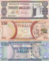 Guyana Set of 3 banknotes 20, 50 and 100 dollars - 2006 to 2016