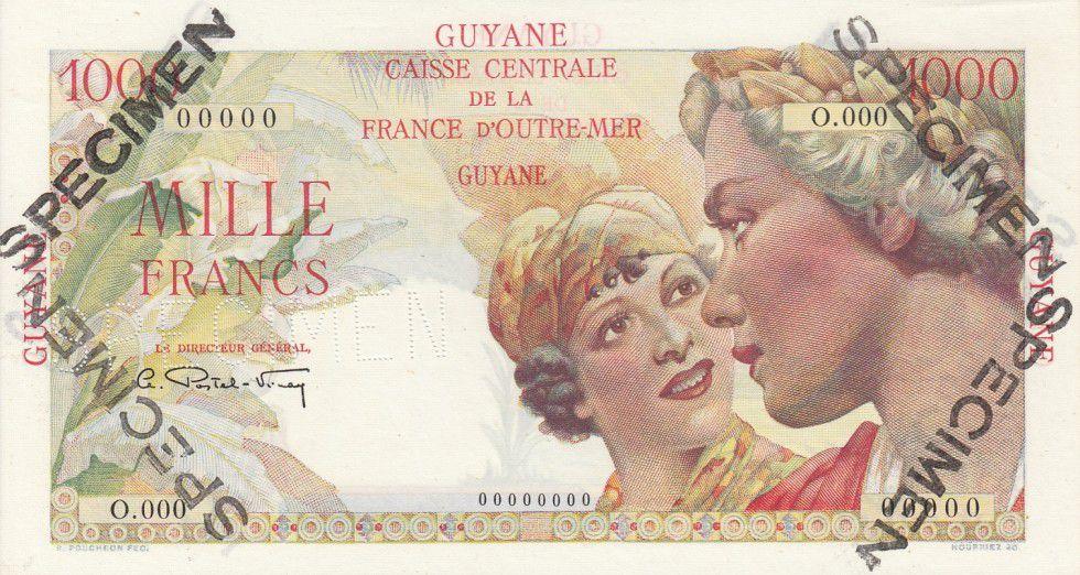 Guyane Française 1000 Francs Union Française - Type 1946 Spécimen O.000