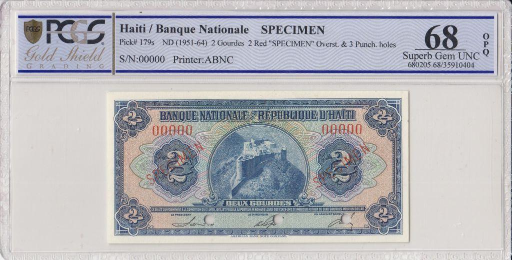 Haiti 2 Gourdes Citadel Rampart - (1951-64) - PCGS 68 OPQ