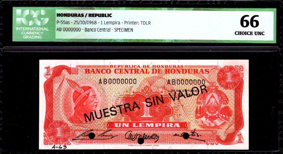 Honduras 1 Lempira Lempira - Ruines de Copan - 1968 - ICG UNC66