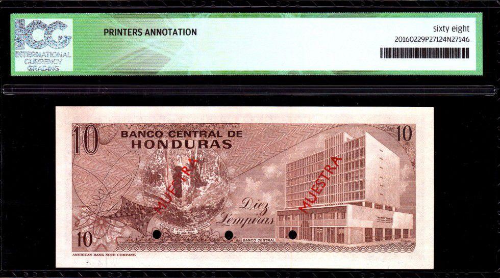 Honduras 10 Lempira Cabanas - Imm. Banque Centrale - 1970 - ICG UNC68