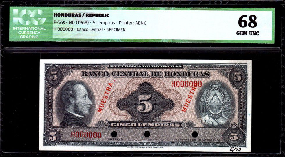 Honduras 5 Lempiras Morazan - Bataille de la Trinité - 1968 - ICG UNC68