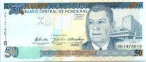 Honduras P.94 50 Lempiras, Juan Manuel Galvez D. - Central Bank - 2010