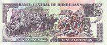 Honduras P.98 5 Lempiras, Morazan - Bataille de Trinidad - 2012