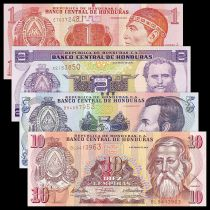 Honduras Set of 4 banknotes - 1 to 10 Lempira - UNC