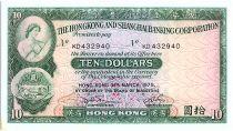 Hong Kong 10 Dollars,  Woman and arms - Building - 1975 - P.182 g