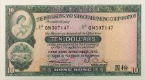 Hong Kong 10 Dollars 1972 - UNC
